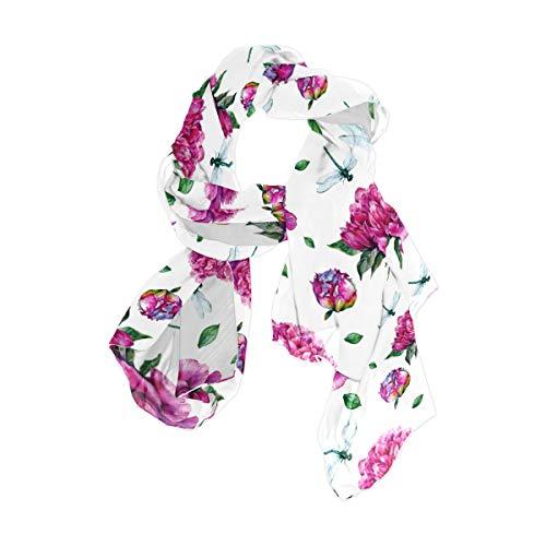 NaiiaN Square Taschentuch Lightweight Print Schal Schal Blume Pfingstrosen Libelle für Frauen Mädchen Damen Favor Chiefs 90x180 CM Head Wraps