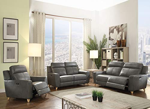 ACME Cayden Loveseat (Power Motion) - 54201 - Gray Leather-Aire Match