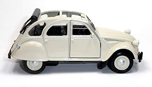 Modellauto Citroen 2CV Ente Cabriolet offen oder geschlossen | Kult Ente für Liebhaber | in ver. Modellen und Farben | Mit Rückzugmotor | Modellautos Modellauto-Sammlung Baujahr ab 1979 (Beige offen)