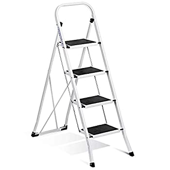 Delxo Folding 4 Step Ladder Ladder with Convenient Handgrip Anti-Slip Sturdy and Wide Pedal 330lbs Portable Steel Step Stool White and Black 4-Feet  WK2040-3