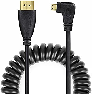 UCEC Left-Angled Micro HDMI to HDMI Male Cable Stretched Length for Cameras