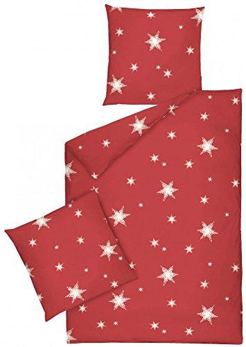 JACK by Dormisette Fein Biber Bettwäsche Stern Sterne Rot Weiß, Größe:155x220cm Bettwäsche