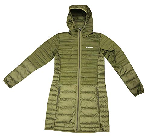 Columbia Womens McKay Lake Long Hooded Down Jacket (XS, Olive)