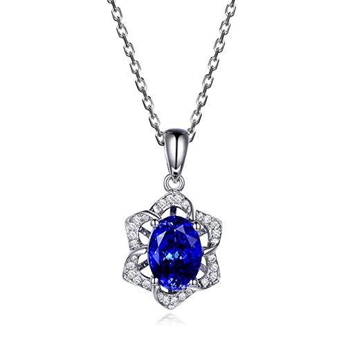 Dreamdge 18K White Gold Necklace Oval Shape Flower Gold Necklaces for Women, 1.35ct Blue Tanzanite White Diamond Pendant Necklace