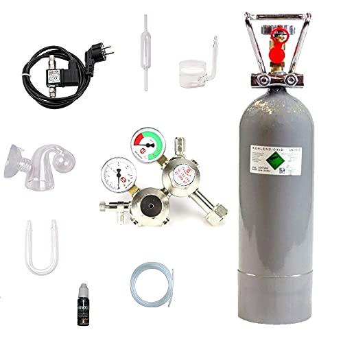 Hiwi CO2 Anlage 2000 Ultimate mit Doppelkammerdruckminderer, Magnetvetil Nachtabschaltung Glaskomponenten, Druckminderer (Made in Germany), 2 KG CO2 Mehrwegflasche, gefüllt, NEU