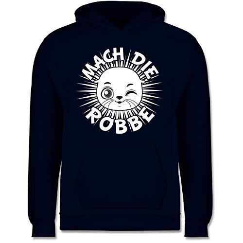Up to Date Kind - Mach die Robbe - 140 (9/11 Jahre) - Navy Blau - Geschenk - JH001K JH001J Just Hoods Kids Hoodie - Kinder Hoodie