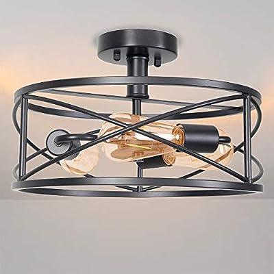Ganeed Vintage Semi Flush Mount Ceiling Light,3 Lights E26 Industrial Metal Cage Ceiling Light Fixture for Bedroom Kitchen Dining Room Living Room,Black
