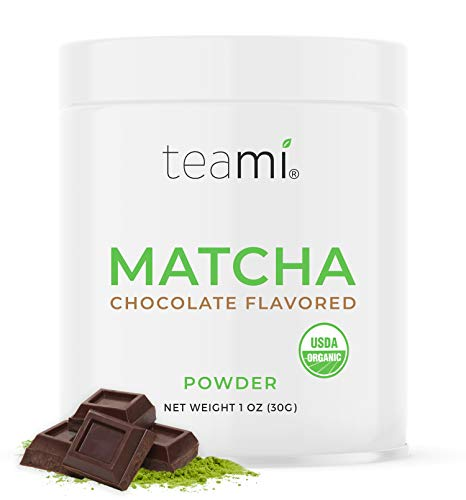 Teami Matcha Green Tea Powder - Chocolate - Ceremonial Grade USDA Organic - Best for Lattes, Smoothies, Baking, Recipes, Traditional Preparation, and More - Authentic Japanese Origin - 30g (1oz) Tin