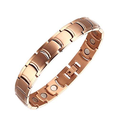 Moocare Rose Gold verstellbare Magnetarmband Herren Gesundheit für Arthritis Mit Faltschließe Geschenketui