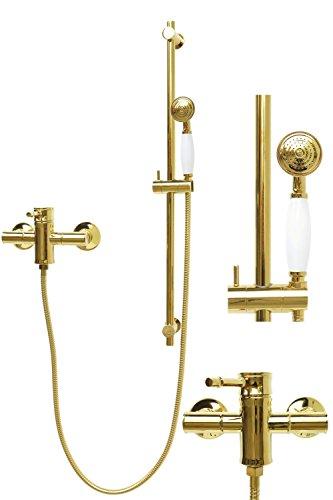 Duschset Brauseset Mischbatterie Dusche Duschsystem Duschbrause Duschkopf Einhandmischer Armatur Gold Dusche Retro