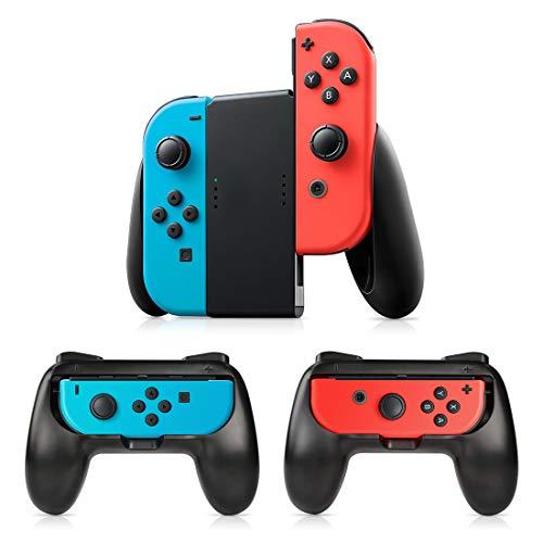 Grip Per Controller Switch Joy-Con,3 Pezzi Impugnatura Timoom Compatibile Nintendo Switch Con il palmo ricurvo per ridurre la fatica per l'interruttore Joy-Con (Nero)