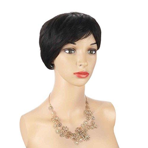 Xuanhemen Perruque courte aux cheveux réels des femmes avec une perruque tissée à la machine noire