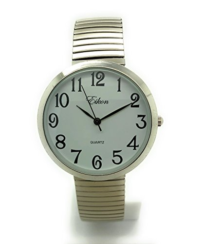 Ladies Mens Big Numbers Stretch Elastic Band Fashion Watch Eikon (Silver)