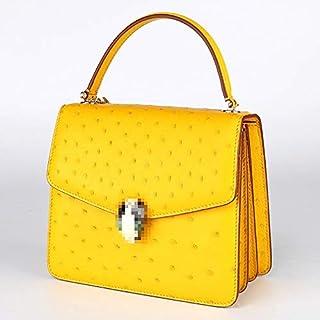 The New Multi-use Ostrich Leather Handbags Fashion Ladies Handbag Messenger Bag Woman (Color : Yellow)