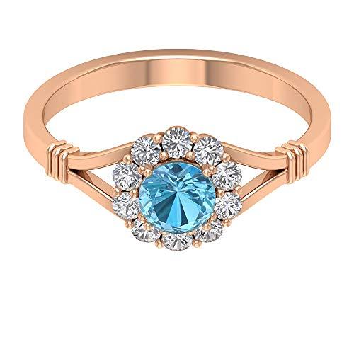 Anillo de halo de diamantes con certificado de aguamarina de 3/4 ct, oro de 14 quilates, solitario, piedra natal de marzo, anillo de boda, regalo de cumpleaños para mujer, 10K Oro rosa, Size:EU 64