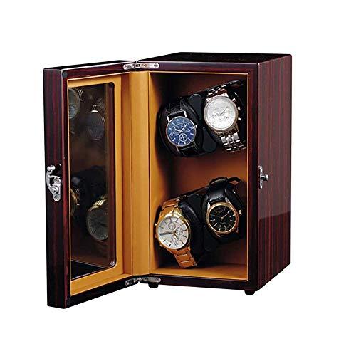 SGSG Uhrenbeweger mit Deckel Automatischer Uhrenbeweger für 4 Uhren, hölzerne Vitrine Uhren Sammler Lagerung Rotierende Uhrenbox mit 5 Rotationsmodi