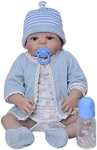 Babypuppen,Silikon Ganz -Reborn-Puppen 23 '' Realistische handgefertigte Babypuppen Jungen Mode Kinder Spielzeug wasserdicht Boneca Modell Geburtstagsgeschenke, braune Augen