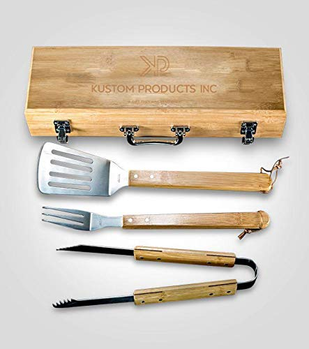 Kustom Products Inc Bamboo BBQ Tool Set Case | Custom Engrave Image Printed | Stainless Steel Tools with Spatula, Tongs, Fork | BBQ Tool Box is Made Solid Bamboo