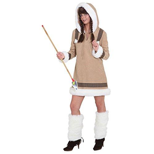 NET TOYS Akna Damen Kostüm Eskimo Eskimofrau - Eskimodame Eskimokostüm Inuit Damenkostüm Eskimokleid Fellkleid Fellkostüm Nordpol Kleid