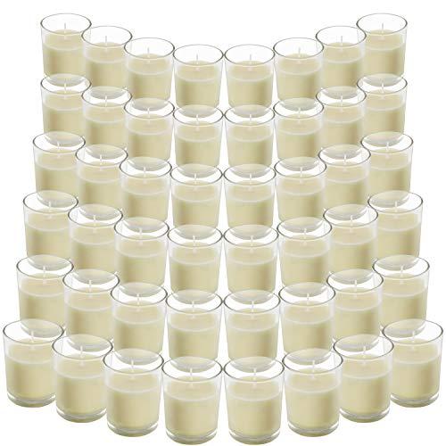 Belle Vous Velas en Vaso Cristal (Pack de 48) - Velas Blancas...