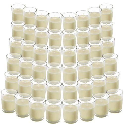 Belle Vous Unscented Clear Glass Filled Votive Candles (48 Pack) - 12 Hour...