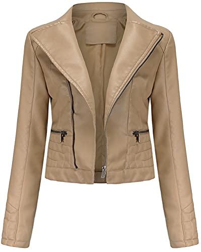 E-Qianw Chaqueta De Cuero De Piel Sintética para Mujer Slim Short Abrigo Zipper Moto PU Chaquetas,Apricot,L