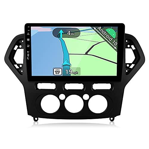 YUNTX Android 10 Autoradio adatto per Ford Mondeo 2007-2010(Manual Air Conditioner)- GPS 2 Din - 2G+32G - 10.1 pollice- Supporta DAB/Controllo del Volante/Bluetooth 5.0/WiFi/4G/CarPlay/USB/Mirrorlink