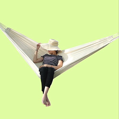 MMWYC 200x120cm Camping Hammocks Outdoor Travel Multifunctional Hammock With Hanging Rope Cotton Breathable Portable Lightweight Hammock White