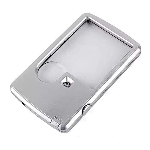 LUISONG FANMENGY Lupa Cristal Cuadrado de Bolsillo portátil 3X 6X Doble Lente de HD portátil Mini LED Iluminado Lupa de Anciano Leyendo Libros Mapas de periódicos Sellos