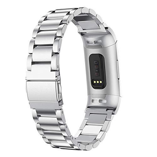 HGNZMD Watch Correa Reloj Compatible con Fitbit Charge 3/4, Correas De Repuesto Bandas De Metal Pulsera Deportiva Correas De Muñeca Transpirable Fitness Joyas Compatibles con Charge 3/4,Plata