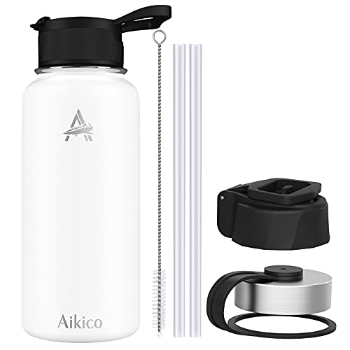 Stainless Steel Water Bottle with Straw Lid, 32oz Vacuum Insulated Sports Water Bottle, Wide Mouth Thermos Mug with Wide Handle Straw Lid and Cleaning Brush, White
