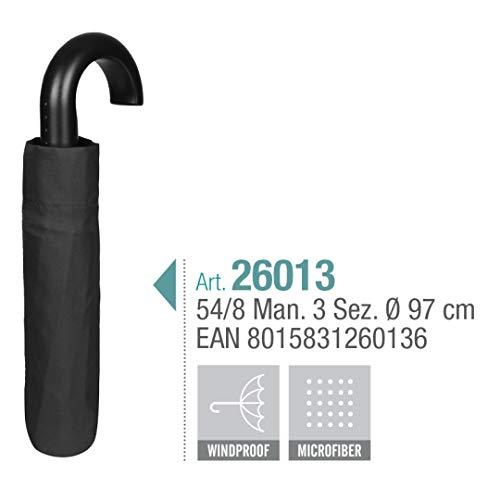 Perletti 26013Gent Mini 54/8Man 3Sekte schwarz gebogenen Griff Winddicht Microfaser Regenschirm