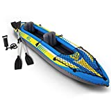2 Person Tandem Kayak | Inflatable Whitewater Ocean Canoe for Fishing W/Aluminum Oars and High Powered Hand Pump