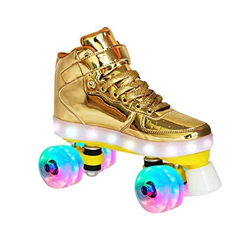 ZXSZX Rodillos Mujeres Patines Roller Girl Scooter Patines con LED Luz Línea Doble Línea Patines 4 Ruedas Dos Zapatos De Patinaje Línea para Adultos,Yellow-29
