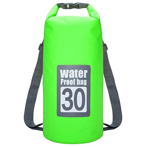 Bolsa Impermeable Seco Piscina Mochila 30l con Correa Ajustable para El Kayak Canotaje Deriva Verde