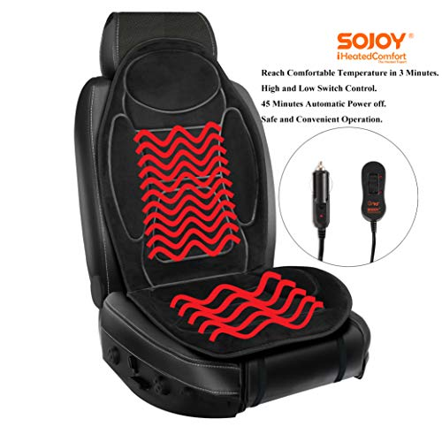 Sojoy 12V Heated Seat Cushion Made with Super Soft Velour, Providing a Fast Warming Controller and Equipped with a 45 Minutes Heating Timer for a Safety Operation. Color Black. SJ115RO54