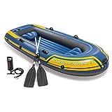 WWXXCC 3-Persona Kayak Inflable Set, 3 Persona Inflable del Barco de Pesca de Dos hileras de válvula con embarcación neumática semirrígida con la Paleta y la Bomba de Aire