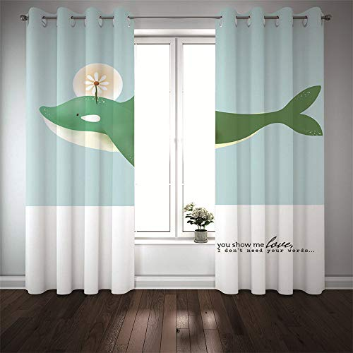 Michance Cortina De Patrón Animal con Personalidad 3D Cortinas Reutilizables Cortina De Vida Simple De Moda 2 Piezas No Es Necesario Perforar