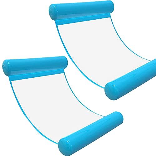[2Stück] Wasserhängematte Luftmatratze aufblasbare Schwimmende Wasser Bett Strandmatte Floating Lounge Stuhl (Hellblau*2)