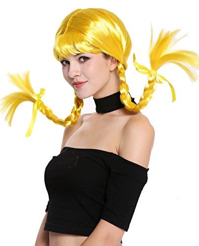 Peluca amarilla con trenzas para mujer