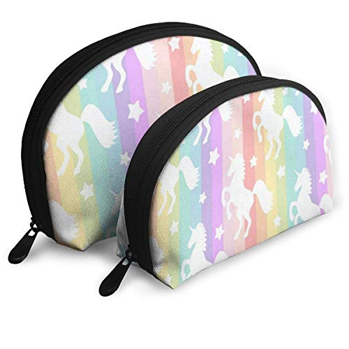 Maquillage Sac Rainbow Stripe Portable Shell Storage Bag For Girls Holiday Pack - 2