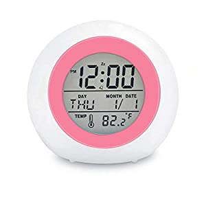 """⏰ 【7 Colors & Touch Control】Simply Tap the top of the alarm clock(or """"Tap"""" button on the bottom) to cycle the light color automatically, emitting vibrant and fun colors like green, red, blue, purple or yellow. The uniform and delicate light giving yo..."""