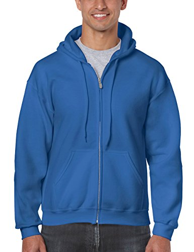 Gildan Herren Adult 50/50 Cotton/Poly. Full Zip Hooded Sweat /18600 Kapuzenpullover, Blau (Royal 51), Large (Herstellergröße: L)