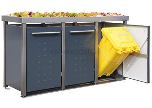 Edelstahl Mülltonnenbox mit Pflanzenwanne für 3 Tonnen 240L (MW222RT) Antrazit, Mülltonnenhaus, Mülltonnenverkleidung