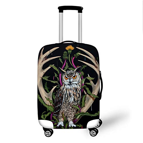 Trolley Case Protective Cover, DOTBUY 3D Print Premium Travel Suitcase Protector Elastic Anti-Scratch Dustproof Luggage Sleeve Cover Elasticized Washable (Antlers Owl,S (18-20 inches))