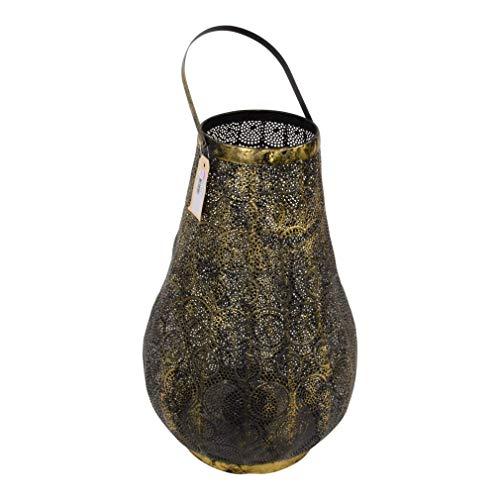 Moritz Windlicht orientalisch Durchmesser 42 x 59 cm Arabisch verziert alt Gold Muster Lampe für Garten Terasse Balkon Deko Gartenfackel Fackel Kerzen