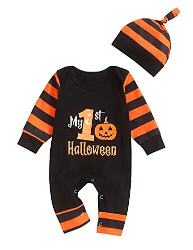 Wexuua Ropa de bebé de Halloween Mi primer mameluco de bebé recién nacido de Halloween, mono de calabaza unisex con capucha, conjunto de traje de una pieza con sombrero