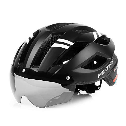 MOKFIRE Casco de Bicicleta de montaña con luz Trasera LED de Seguridad Gafas magnéticas Desmontables Cascos de Ciclismo de Carretera Cascos Ajustables para Hombres y Mujeres (22.44-24 Pulgadas)