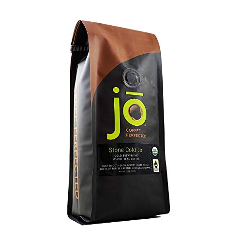 STONE COLD JO: 12 oz, Cold Brew Coffee Blend, Dark Roast, Whole Bean Organic Coffee, Low Acidity, Great Brewed Hot Too, USDA Certified Organic, Fair Trade Certified, NON-GMO
