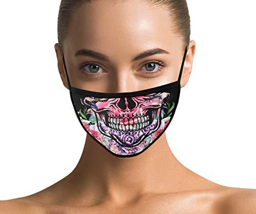 Dilara Baumwollmaske mit Skull - Maske für Erwachsene (Totenkopf Rose)